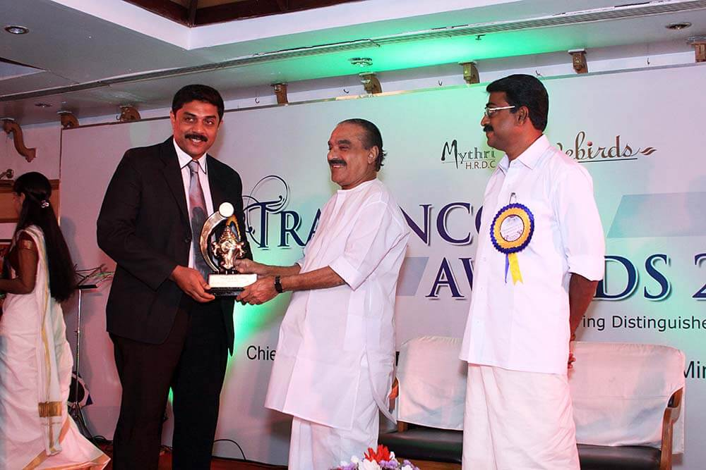 Excellence in IT education,Travencore Award by Fin.Minister KM.Mani